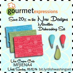 For a limited time only, save 20% on the fashionable, functional Microfiber Dishwashing Set by Now Designs! Use coupon code MFJIENA4 until Sunday, October 12.