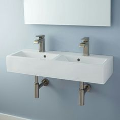 Naiture Double Bowl Wall Mount Bathroom Sink With Oil Rub