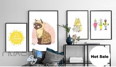 You are my sunshine Cat Fish Canvas Prints Wall Decals Kids Art Decor Unframed IDCCV-BO-000191