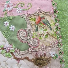 I ❤ crazy quilting, beading ribbon embroidery . For the Birds RR- Cathy K's work on Nicki Lee's block ~By Cathy Kizerian Crazy Quilt Stitches, Crazy Quilt Blocks, Patch Quilt, Crazy Quilting, Strip Quilts, Ribbon Embroidery, Embroidery Stitches, Embroidery Ideas, Fabric Art