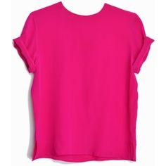 Vintage Hot Pink Silk Tee Minimalist Silk Blouse women's small (€37) ❤ liked on Polyvore featuring tops, blouses, short sleeve silk top, silk top, vintage tops, vintage blouse and button back top