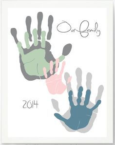 DIY Valentine's Day Gifts for Mom, Dad, Grandma, & Grandpa:  Our Family Personalized Handprint Artwork Print by Pitter Patter Print @ Etsy