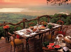 Dining in style at the edge of the world in Ngorongoro.