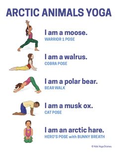 Arctic Animals Yoga Poster - pre-k - Kids Yoga Poses, Yoga For Kids, Exercise For Kids, Toddler Exercise, Physical Education, Physical Activities, Pranayama, Preschool Yoga, Movement Preschool