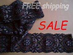 SALE Black & Brown Stretch Lace Galoon for Lingerie or Stretch Lace, Top Free, Flower Designs, Black And Brown, 50th, Stretches, Lingerie, Free Shipping, Swimwear