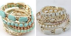 J Crew Inspired Jewels & Links Bangle Set – 4 Color Choices!