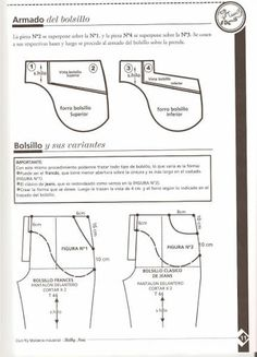 PANTALONES TRANSFORMACIONES-PROGRESIONES - LIZBETH GAMARRA - Álbumes web de Picasa Pattern Making Books, Pattern Books, Sewing Pockets, Japanese Sewing Patterns, Sewing Pants, Sewing School, Pants Pattern, Sewing Techniques, I Love Fashion