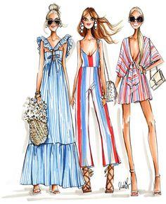 zeichnen Feeling stripey fashionista illustration by Jen Lublin Design Fashion Drawing Dresses, Fashion Illustration Dresses, Fashion Dresses, Fashion Illustrations, Drawing Fashion, Fashion Art, Trendy Fashion, Girl Fashion, Fashion Design Drawings