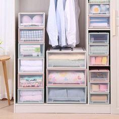 Caravan Wardrobe Storage Solutions Diy Storage Cabinets, Bathroom Storage Boxes, Diy Cabinet Doors, Cubby Storage, Hanging Storage, Storage Spaces, Wardrobe Storage Boxes, Clothes Drawer Organization, Organisation Ideas