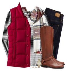 """""""Red down vest, tartan scarf & striped top"""" by steffiestaffie ❤ liked on Polyvore featuring American Eagle Outfitters, J.Crew, Merona, Lands' End, Tory Burch and Michael Kors"""