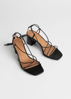 Block heel sandals with strappy leather detailing and lace up leather straps. Black Strappy Sandals Heels, Black Heels, High Heels, Heeled Sandals, Leather Sandals, Lace Up Sandals, Lace Up Heels, Stilettos, Pumps