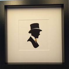 Traditional Precision Cut Silhouette of English Gentleman with Top Hat and Dickie bow. #dickiebow #English #gentleman #gentlemen #englishhome #traditional #silhouette #silhouet #silhouettes #tophat #etsy #love #gift #present #framedart