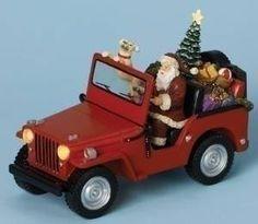 "6"" H Santa in Jeep Figurine Musical Ornament. RM001 http://www.amazon.com/dp/B00OBUJGXM/ref=cm_sw_r_pi_dp_TTuwub1ZYSCVG"