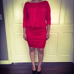 Rachel Roy cocktail dress Hot hot red (very bright red) satin dress. Perfect fit for any body type. RACHEL Rachel Roy Dresses