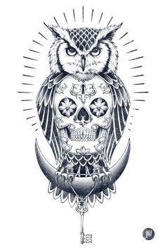 Owl and Skull illustration - Skullspiration.com - skull designs, art, fashion…