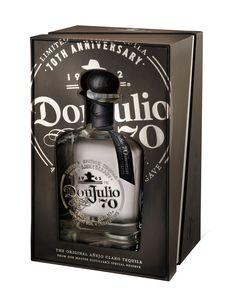 Tequila Don Julio 70 Añejo Claro Tequila Bottles, Alcohol Bottles, Drink Bottles, Cool Packaging, Bottle Packaging, Packaging Design, Tequila Don Julio 70, Whisky, Whiskey Bottle