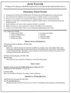 elementary teacher resume templates
