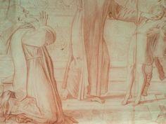 """DOMINIQUIN (d'Après) - St Nil guérit un Jeune Possédé avec l'Huile de la Lampe, Sanguine (drawing, dessin, disegno-Louvre INV9146) - Detail 02  -  TAGS /  details détail détails detalles """"dessins 17e"""" """"17th-century drawings"""" sketch sketches Museum """"Domenico Zampieri"""" """"Le Dominiquin"""" """"saint Nil"""" kid kids Bible man men hommes portrait portraits face """"little boy"""" garçon baby bébé Jésus Vierge Virgin people women female faces """"jeune femme"""" """"young woman"""" turban oriental prière prayer """"red chalk"""""""