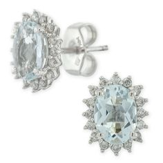 Aquamarine & Diamond Earrings 14K White Gold.