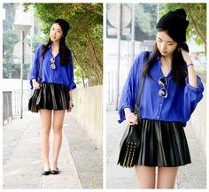 Zoe  S - Ellysage Shirtdress (Tucked In), H&M Skirt And Beanie, Karen Walker Sunnies - COBALT//