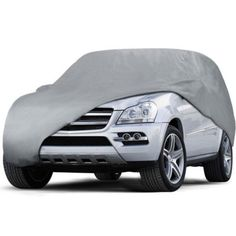 Weekly deals: Weatherproof PEVA Car Protective Cover with Reflective Light Silver Gray XL