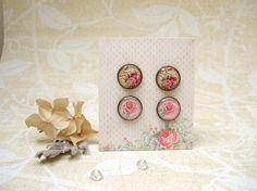 Resin Earrings Post Earrings Stud Earrings Vintage Roses