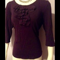 Ann Taylor Loft Plum Ruffle Top XL This is a sweet knit top perfect for the fall transition.  Beautiful plum color, ruffle front and 3/4 sleeves.  Very soft!  Pre-loved but in excellent condition. LOFT Tops