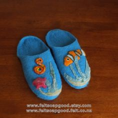 Felt Slippers Felted slippers Felt Wool House Shoes New Zealand wool Blue Sea Tropical fish For him For herFeltSoapGood Etsy