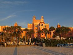"Loews Don CeSar (the ""Pink Lady"") in the golden light of the setting sun on St. Pete Beach"