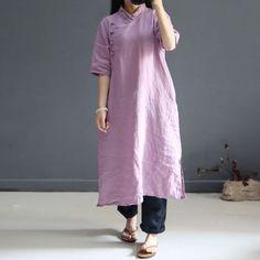 Women Retro Stand Collar Linen Short Sleeve Purple Dress