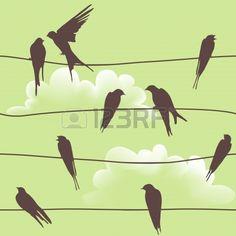 Modèle vectoriel Belle transparente avec les oiseaux assis sur les fils photo