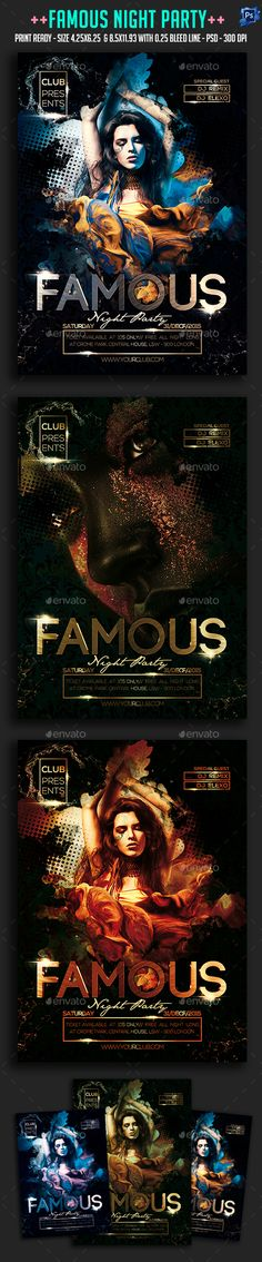 Famous Night Party Flyer Template PSD #design Download: http://graphicriver.net/item/famous-night-party-flyer/13824179?ref=ksioks