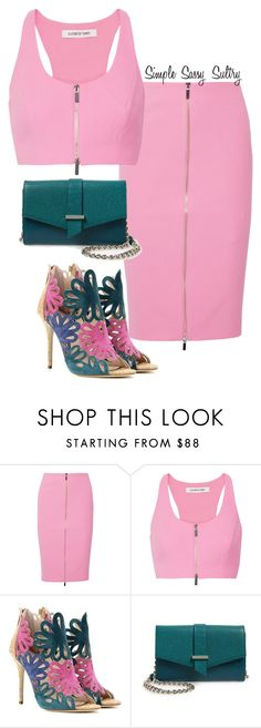 """Pink N Teal"" by simplesassysultry on Polyvore featuring Elizabeth and James, Oscar de la Renta and Halogen"
