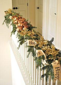 Happy Holidays Banister Decor creative christmas ornaments happy holidays evergreen christmas stairs decoration ideas