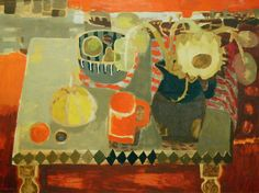 Still Life  by Mary Fedden       Date painted: 1963  Oil on board, 90.5 x 120.5 cm  Collection: Government Art Collection