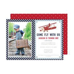 Plane Birthday Party Photo Invitations