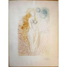 Salvador Dali -  The Birth of Venus - Original HandSigned Etching | From a unique collection of nude prints at https://www.1stdibs.com/art/prints-works-on-paper/nude-prints-works-on-paper/