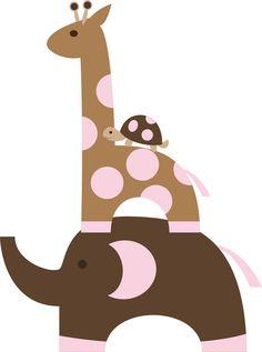 turtle, giraffe, elephant wall decal $35  30X23 in