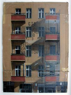 Urban Cityscapes Spray Painted on Cardboard Panels by EVOL street art stencils graffiti Cardboard City, Cardboard Sculpture, Cardboard Boxes, Graffiti, Colossal Art, A Level Art, Stencil Art, Stencils, Arte Popular