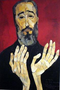 Oswaldo Guayasamín (1919-1999), 1996, Las manos de Fidel (The hands of Fidel). #FidelCastro