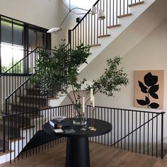 Jake Arnold (@jakearnold) • Instagram photos and videos Black Stair Railing, Black Stairs, Staircase Railings, Staircase Design, Staircases, Entryway Stairs, Wood Stairs, Entryway Decor, Stair Climbing