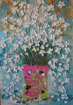 """Abstract impasto floral painting """"Daisy Days"""" by CreativeWomanhood"""