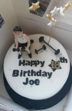 I'll bet Joe needed to lift some extra weights to get the calories from this birthday cake off. Weights Birthday Cake