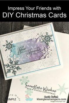I've got a DIY Christmas card that will impress your friends and it's super fun to make. You'll use this design all season long. Let me show you how to create this greeting card in a flash. www.klompenstampers.com #diychristmascard #handmadechristmascards #cardmakingchristmasideas #christmascardideas #cardmakingtutorials #jackiebolhuis #klompenstampers #stampinup #stampinupcards