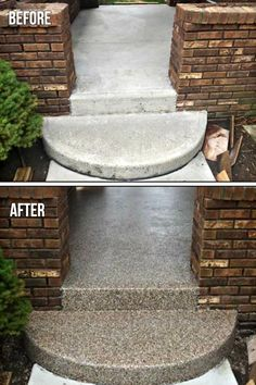 """Concrete Resurfacing Porch - This fast-setting """"bond-like-crazy"""" flexible membrane is quickly becoming one of the most sought-after coatings on the market today! Patio Resurfacing Ideas, Concrete Patio Resurfacing, Concrete Countertops, Concrete Patio Makeover Ideas, Repairing Concrete Steps, Concrete Floor Repair, Spray Paint Countertops, Cement Steps, Concrete Floor Coatings"""