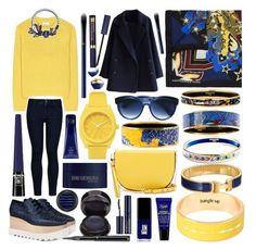 """Blue Yellow"" by lamemechose ❤ liked on Polyvore featuring Nixon, Acne Studios, Trina Turk, Estée Lauder, STELLA McCARTNEY, Clé de Peau Beauté, Hermès, Mary Katrantzou, Tory Burch and Oribe"