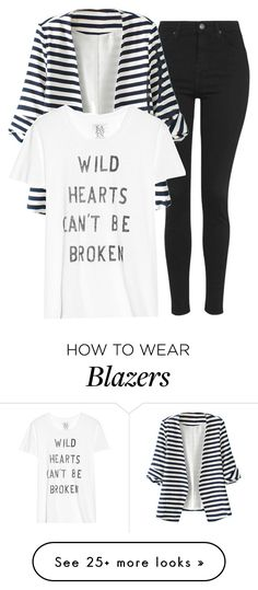 """""""Striped Blazer"""" by quonton on Polyvore featuring Topshop, WithChic, Zoe Karssen, women's clothing, women's fashion, women, female, woman, misses and juniors"""