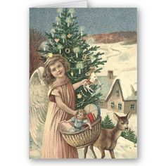 These gorgeous free vintage Christmas angel cards are large-sized, so they can be used for a variety of projects, including scrapbooking and making your own Christmas cards. Vintage Christmas Images, Old Fashioned Christmas, Christmas Scenes, Christmas Past, Victorian Christmas, Vintage Christmas Ornaments, Christmas Gift Tags, Christmas Pictures, Christmas Angels
