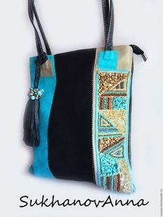 """Купить Сумка """"Стильная-Бирюзовая"""" - разноцветный, черный и бирюзовый, сумка комбинированная, сумка кожаная"""