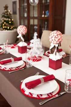 Love the placemats and napkins!  Just by changing the color/pattern of the fabric you can use the same white plates for any holiday or party.